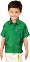 Thangamagan Boys Solid Casual Green Shirt