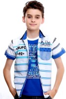 MashUp Boys Striped Casual Blue Shirt(Pack of 2)