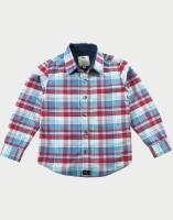 Cherry Crumble California Boys Checkered Casual Blue, Red Shirt