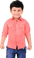 Ice Blue Boys Solid Casual Pink Shirt