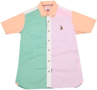 US Polo Kids Boys Solid Casual Green, Orange, Pink Shirt