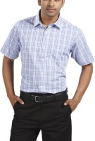 Raymond Men Checkered Casual Blue Shirt