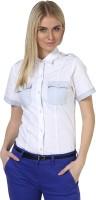 Dazzio Women's Solid Formal White, Light Blue Shirt