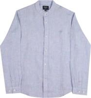 Indian Terrain Boys Solid Casual Linen Blue Shirt