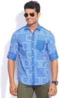 The Indian Garage Co. Mens Printed Casual Blue Shirt