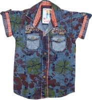 Kidzee Boys Self Design Casual Orange Shirt