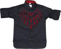 OKS Boys Boys Printed Casual Black, Red Shirt