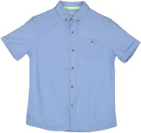 Poppers by Pantaloons Boys Solid Casual Blue Shirt