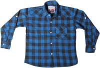 Little Man Boys Checkered Casual Blue Shirt