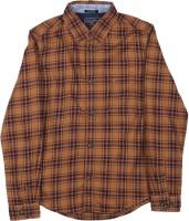 Indian Terrain Boys Checkered Casual Black, Orange, Brown Shirt
