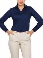 Park Avenue Women's Solid Formal Dark Blue Shirt