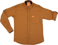 Little Man Boys Solid Casual Brown Shirt