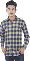 EdenElliot Mens Checkered Casual Beige, Dark Blue Shirt
