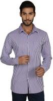 Macoro Mens Striped Casual Purple, White Shirt