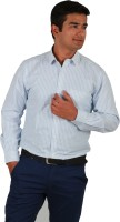 I-Voc Mens Striped Formal White, Blue Shirt