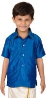 Thangamagan Boys Solid Casual Blue Shirt