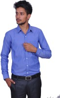 Leaf Mens Solid Formal Blue Shirt