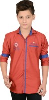 Anry Boys Solid Casual Maroon Shirt