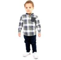 Cherry Crumble California Boys Checkered Casual Grey Shirt