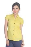 Ten on Ten Women's Polka Print Casual Yellow Shirt