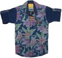 Kidzee Boys Self Design Casual Green Shirt