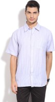 John Players Mens Striped Formal White, Purple Shirt