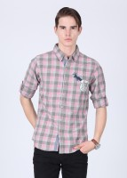 People Mens Checkered Casual White, Grey, Pink Shirt