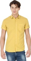 Mufti Mens Solid Casual Yellow Shirt