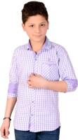 Aedi Boys Checkered Casual Purple Shirt
