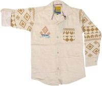 Kidzee Boys Self Design Casual Beige Shirt