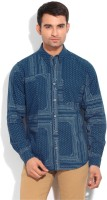 United Colors of Benetton Mens Printed Casual Blue, White Shirt