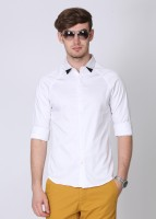 People Mens Solid Casual White Shirt