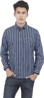 EdenElliot Mens Striped Casual Black, Blue Shirt
