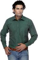 Zeal Men Checkered Formal Green Shirt
