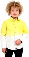 Cherry Crumble California Boys Self Design Casual Yellow, White Shirt