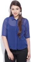 Van Heusen Women's Solid Casual Blue Shirt