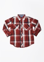Nautica Boys Checkered Casual White, Blue, Red Shirt