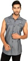 Macoro Mens Solid Casual Grey Shirt