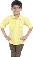 Ice Blue Boys Solid Casual Yellow Shirt