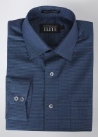Peter England Mens Checkered Formal Black, Blue Shirt