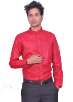 Leaf Mens Solid Casual Red Shirt