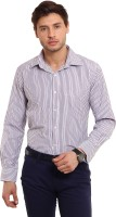 I-Voc Mens Striped Formal White, Purple Shirt