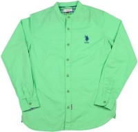 US Polo Kids Boys Solid Casual Green Shirt