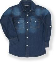 Tonyboy Boys Solid Casual Dark Blue Shirt