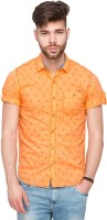 Mufti Mens Printed Casual Orange Shirt