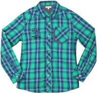 Poppers by Pantaloons Girls Checkered Casual Green Shirt