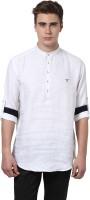 MONTEIL & MUNERO Mens Solid Casual Linen White Shirt