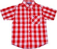 612 League Boys Checkered Casual White, Red Shirt