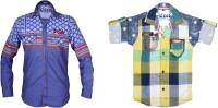 Kidzee Boys Self Design Casual Blue, Green Shirt(Pack of 2)
