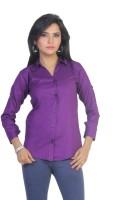Ten on Ten Women's Solid Casual Purple Shirt